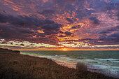 Sunset on the heights of the cliffs of Cap Blanc-nez, Opal Coast, Hauts de France, France