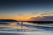 Fisherman at sunset on the beach of Tardinghen, Opal Coast, Hauts de France, France