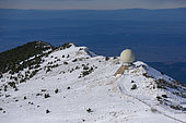 The Radome in the limestone scree on the northern slope of the summit of Mont Ventoux in snow, Vaucluse 84, Provence-Alpes-Cote d'Azur, France