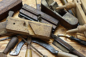 Old carpentry tools, shoemaking, oak debarking,… workshop, Haut-Rhin, France