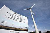 Wind farm, 6 wind turbines of 3 MW, panel, Chamole, Jura, France