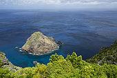 Ilhéu de São Lourenço, also known as Ilhéu do Romeiro, is located in front of Ponta Negra, at the southern end of São Lourenço beach, Santa Maria Island, Azores, Portugal, Atlantic Ocean
