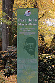 Panel on Edouard André, landscape architect, creator of the park in the 19th century, Parc de la Marseillaise, Guebwiller, Haut Rhin, France