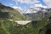 Landscape and Cleuson dam in summer, Valais, Switzerland
