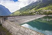 Verney dam and village of Allemont, Isère, France