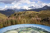 Orientation table located at the Col de la Croix de Fer and landscape over the Arvan valley, Savoie, France