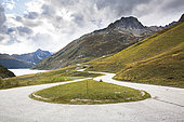 Road between Grand 'Maison lake and the Glandon pass, Arves massif, Savoie, Alpes, France