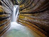 The Taugl or Tauglbach flows through the red gorge, also Marble Gorge, Bad Vigaun, Tennengau, Salzburg, Austria, Europe