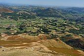 From the top of the Monhoa, view on the Nive valley and St-Jean-Pied-De-Port, Pyrenees, France