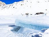 Ice from a frozen lake, Haute Ubaye, Alpes de Haute Provence, France
