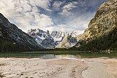 Drought lake, cloud atmosphere, Dolomites, Italy, Europe