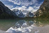 Drought lake, cloud atmosphere, reflection in water, Dolomites, Italy, Europe
