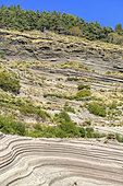 Phreato-magmatic deposits in Molines, in Ardèche. The maar of Echamps is a vast plateau resulting from the cooling of a lava lake. An active quarry located in Molines shows a beautiful cut in the maar deposits - site of the Geopark des Monts d'Ardèche - France