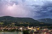Thunderstorm and lightning on Seyssel. Haute-Savoie, France