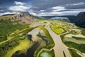 Rapadalen River Delta, Rapa Valley, Rapaälv River, Sarek National Park, Laponia, UNESCO World Heritage, Lapland, Jokkmokk, Norrbottens län, Sweden, Europe