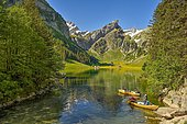 Rowing boats on the Seealpsee, behind the Säntis, Alpstein, Canton Appenzell, Switzerland, Europe