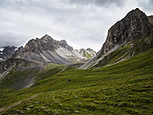Ascent of La Tourne, Hiking on the GR5 trail, above the Rosuel hut, Vanoise NP, Alps, France