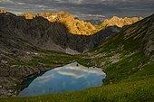 Lake Guffelsee and Lechtal Alps in the morning light Gramais, Lechtal Außerfern, Tyrol, Austria, Europe