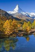 Matterhorn and Lake Grindji, Valais, Switzerland, Europe