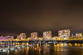 Port of Boulogne sur mer at night, Opal Coast, Hauts de France, France