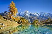 Lac Bleu, Grande Dent de Veisivi, Dent de Perroc, Aiguille de la Tsa, Valais, Switzerland, Europe
