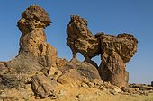 Eroded, fissured Rock formations, Ennedi plateau, Chad, Africa