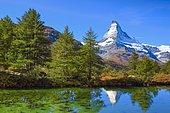 Matterhorn and mountain lake, Valais, Switzerland, Europe