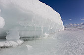 The edges of the sea are frozen with ice in winter, Arctic circle Dive Center, White Sea, Karelia, northern Russia