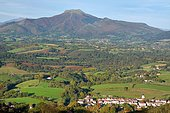 View of Ainhoa (most beautiful village in France) and the Rhune mountain (900m), Basque country, France