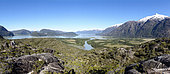 View of the fjords surrounding the village of Tortel in Chilean Patagonia.