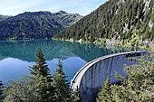 Dam and lake of Saint Guérin, Haute Savoie, Alps, France