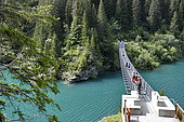 Metal footbridge, Dam and lake of Saint Guérin, Haute Savoie, Alps, France