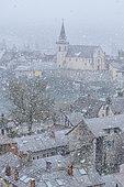Snowfall on the small town of Seyssel, Haute Savoie, France