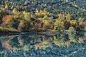 Mirror on the Serre Ponçon lake, at the bottom of the Ubaye Valley, Hautes-Alpes, France