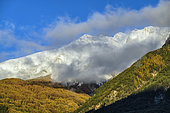 Le Grand Berard and Costebelle in autumn. Nappe du Parpaillon, Alpes de Haute Provence, France