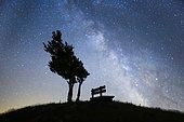 Bench under Milky Way, Switzerland, Europe