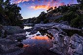 The river Tarn at dusk, upstream of the village of Pont-de-Montvert, Lozère, Occitania, France