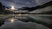 Night view of the lake of Valbonnais. Matheysine, Parc National des Ecrins, Isère, Auvergne Rhône Alpes, France