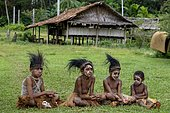 Children with headdress made of cassowary feathers, village Mutin, Lake Murray, Western Province, Papua New Guinea, Oceania