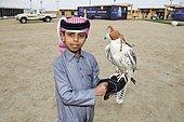 Qatari boy with falcon at Marmi Falcon Festival, Sealine Dunes, Mesaieed, Doha, Qatar, Asia