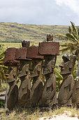 Anakena, 7 Moaï including 4 with headdress (Pukao), Rapa Nui, Easter Island, Chile