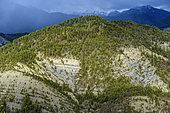 Paysage de la Réserve Géologique de Digne, Lobe de Cousson, Strates du Trias et du Jurassique, Réserve Géologique de Digne, Alpes de Haute Provence, France