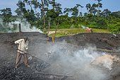 Coal production out of wood, Libongo, deep in the jungle of Cameroon