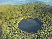 Aerial of Lalolalo lake volcanic crater lake, center of Wallis, Wallis and Futuna, Oceania