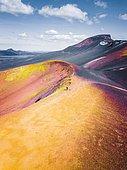 Aerial view, volcano, crater rim with yellow sulphur, near Friðland að Fjallabaki, Iceland, Europe
