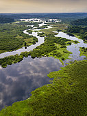 Aerial view of tropical wetlands, Akaka, Loango National Park, Gabon.