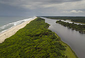 Coastline and lagoon along Atlantic ocean, Loango National Park, Gabon, central Africa.