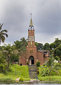 St Anne's Mission, designed and materials supplied by Gustav Eiffel in 1889, near Omboue, Fernan Vaz Lagoon, Gabon, central Africa.