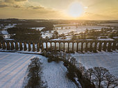 Ouse Valley or Balcombe viaduct at sunrise in winter, West Sussex, UK. February