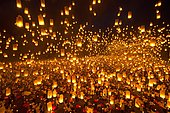 Light and peace festival, 15,000 sky lanterns, Kongming lanterns, Light of Peace Ceremony at the Dhammakaya Foundation, University of Philippines Visayas in Miagao, Iloilo Province, Panay Island, Philippines, Asia
